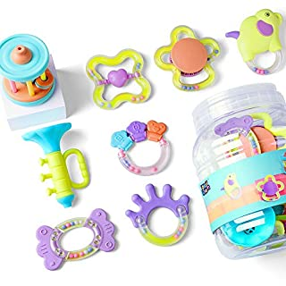 iPlay iLearn Baby Rattles Set, Infants Teething Play Toys, Babies Chewing Silicone Teether, Shaker, Grab, Development Educational Musical Gift Set for 4, 5, 6, 9, 12, 18 Month Old, Newborn, Boy, Girl