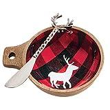 Mud Pie Christmas Buffalo Checkered Wood Dip Bowl (One Deer)