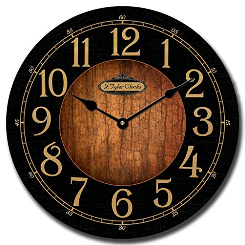 Black & Wood Wall Clock, Available in 8 Sizes, Most Sizes Ship The Next Business Day, Whisper Quiet.