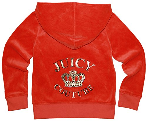 Juicy Couture Girls Bold Gold Jeweled Lettering T-shirt or Velour Hoodie. (Small 4-5, Orange Hoodie) by Juicy Couture