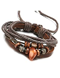 Multi-strand Mens Womens Brown Leather Cotton Wrap Bracelet with Bead Strings Wristband, Adjustable
