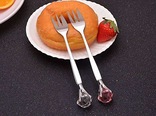 UNAKIM--Rhinestone Stainless Steel Fork Coffee Spoon Dinnerware Tableware Cutlery ()