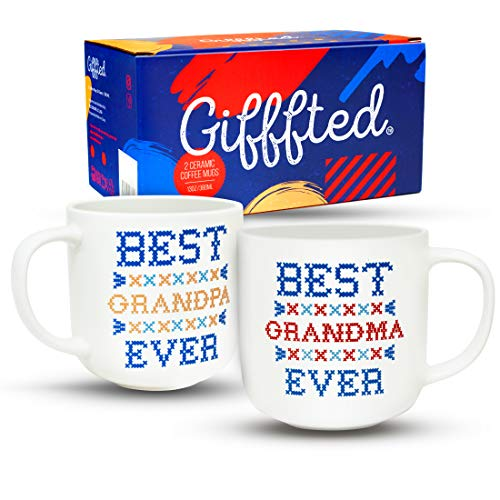 Gifffted Grandparents Mugs, Worlds Best Ever Grandma and Grandpa Coffee Mugs Gifts From Grandson Granddaughter, Funny Mug Presents For Great Grandparent Anniversary Valentines Day, 2 Set Gift Cups V3