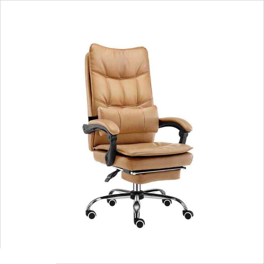 事務用椅子 Eスポーツゲームチェア 人間工学的の椅子 持ち上がる回転椅子 コンピュータチェア 家庭用研究快適なフットレストスライディング車椅子 (Color : Khaki)