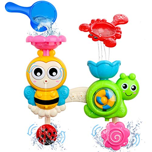 FOYOKEN Bath Toys Bathtub Toy for Toddlers Kids Age 1 2 3 4 Years Old Boys and Girls, Baby Water Toy Bee with Spin Gear Rotating Eyes Strong Suction Cups for Bath Time Birthday Gift Ideas Color Box