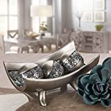 Creative Scents Schonwerk Centerpiece Bowl- Crackled Mosaic Design- Functional Table Decorations- Centerpieces For Dining/ Living Room - Best Wedding/ Birthday/ Anniversary Gift (Silver)