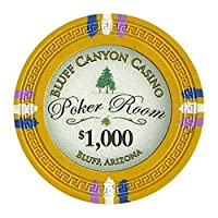 Claysmith Gaming Bluff Canyon Poker Chips Heavyweight 13.5-gram Clay Composite – Pack of 50 ($1000 Yellow)