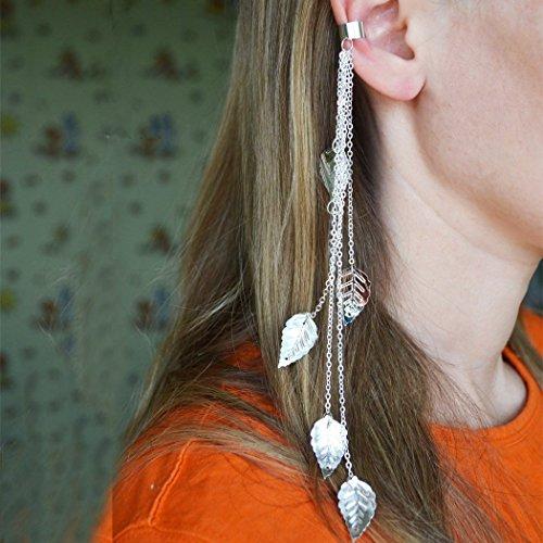 Chain Earrings Long Earrings Cuff Earrings, No Piercing Earrings, Cartilage Earring, Girlfriend Gift Ideas, Silver Color Ear Cuff Leaves Earrings, Sparkles in the Sun]()