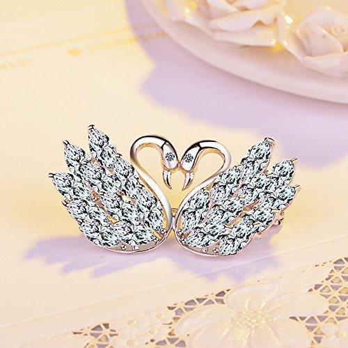 Zirconium stone double heart ornaments girl swan brooch pin temperament burst flash coat corsage brooch pin silver jewelry