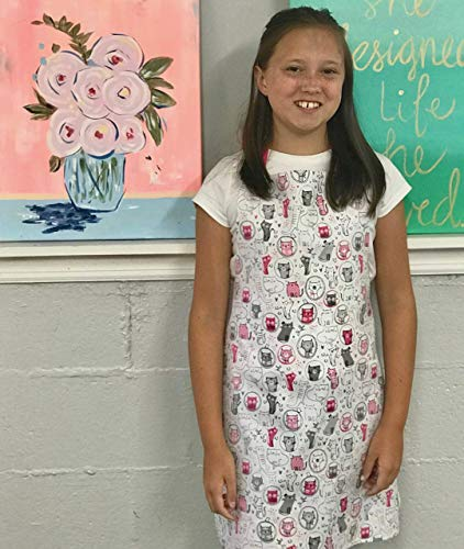Pink Cats Handmade Tween Girl Apron Gift for Crafts Kitchen or Art from Sara Sews, Inc.