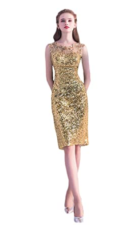 Womens Sequins Sheath Gowns Knee Length Mothers Wedding Evening Dresses, Gold ...
