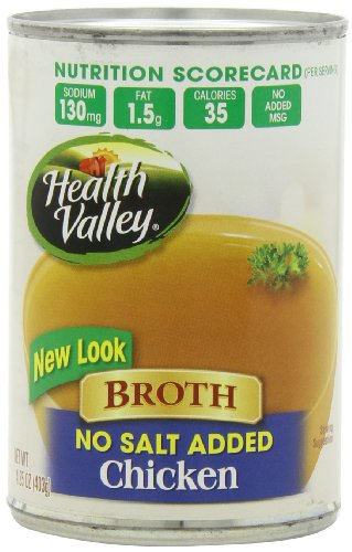 Health Valley No Salt Added Broth, Chicken, 14.25 Ounce (Pack of 12)