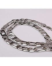 سلسلة سلسال فولاذ مقاوم للصدأ مطلي بلاتينيوم 60 سم عريضة للرجال والنساء - فضي