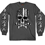Hot Leathers Men's Long Sleeve Flag Skull Shirt (Charcoal, X-Large)