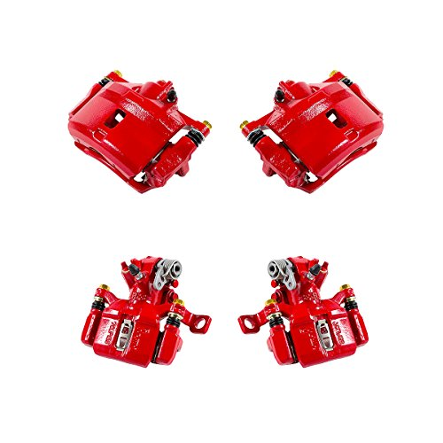 CK01060 FRONT + REAR [ 4 ] Performance Grade Semi-Loaded Powder Coated Red Caliper Assembly Set Kit (Best Tires For Honda Civic Si)