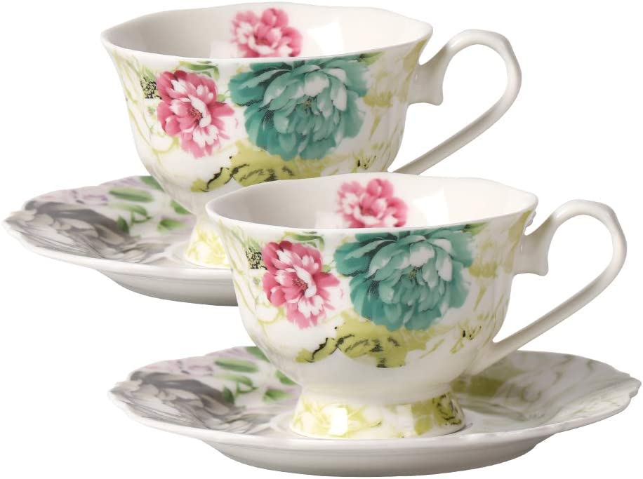 Amazon Com Scarlett Bone China 4 Piece Cup And Saucer Set Ribbon Tied Color Peony Set Of 2 Kitchen Dining