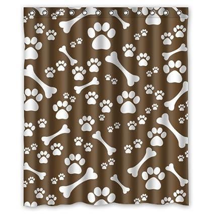 Aerugo White Dog Paw And Bone Print Shower CurtainFunkybrightPolyester Fabric