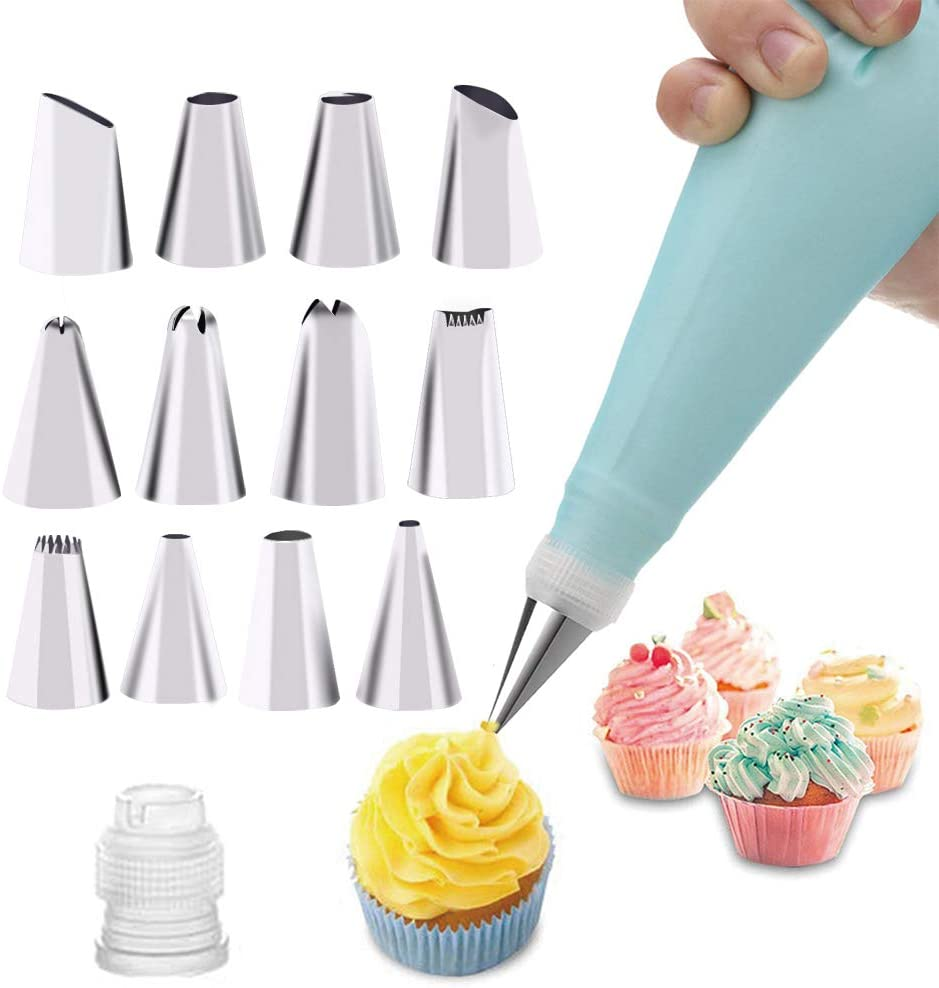 Icing Piping Cream Pastry Bag /& 6 Pieces Stainless Steel Nozzle+Converter Set UK