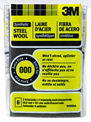 3M 10120NA #000 Extra Fine Synthetic Steel Wool Pads - Quantity 6 ()