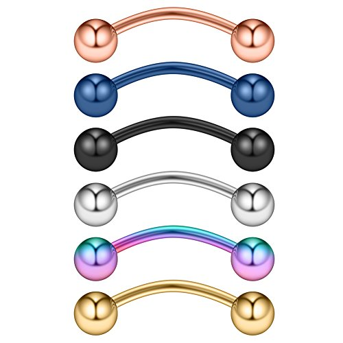 (Ruifan 6PCS Assorted Colors Tiny Eyebrow Piercing Jewelry Curved Barbell with Balls Kit Eyebrow Tragus Lip Ring 20g 20 gauge 6mm)