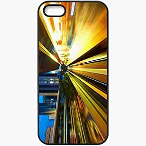 Protective Case Back Cover For iPhone 5 5S Case Lights Subway Station Metro Action Black
