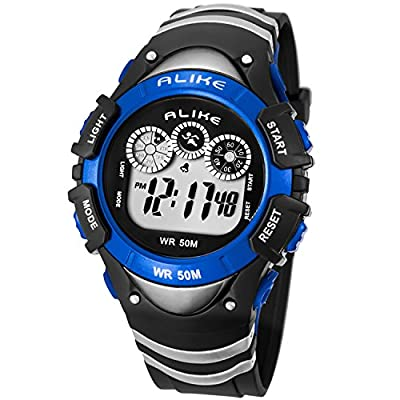 Boys Digital Sport Watch, Kids LED Electronic Waterproof Outdoor Watches Boy Running Cool Fashion Watch from cofuo