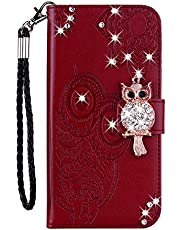Smagiv For Samsung Galaxy A11 Glitter Pocket Case,Cute Cartoon 3D Owl Emboss Mandala Flower Sparkly Gems Shockproof PU Leather Wallet Stand Magnetic Silicone Folio Case with Wrist Strap,Brown