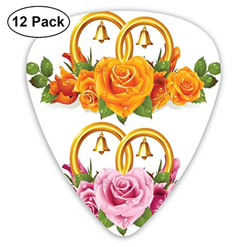 (Guitar Picks - Abstract Art Colorful Designs,Bunch Of Roses And Rings With Bells Fresh Petals Green Leaves Waterdrips,Unique Guitar Gift,For Bass Electric & Acoustic Guitars-12 Pack)