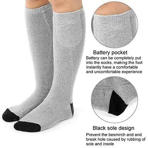 DDELLK Wiederaufladbare Elektrische Beheizte Socken Beheizbare Socken Einstellbarer Temperatur Thermosocken Outdoor Sports Wandern Warme Wintersocken f/ür Damen Herren