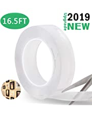 Nano Adhesive Tape, Batlofty Multipurpose Magic Reusable Removable Transparent Gel Sticker Tape Double Sided Washable Seamless Traceless Tape for Home Kitchen Wall 16.5FT