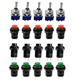 Aoyoho 15Pcs OFF/ON Thread SPST Latching Type Push Button Switch and 5Pcs ON/ON 2 Position DPDT Toggle Switch