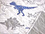 MAX STUDIO 2-pc DINOSAURS TWIN Quilt SET - Navy Blue Gray White (set includes 1 standard sham)