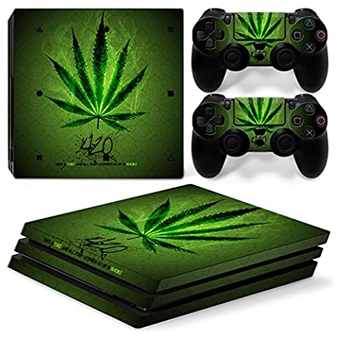 Chickwin PS4 Pro Vinyl Skin Full Body Cover Sticker Decal For Sony Playstation 4 Pro Console and 2 Dualshock Controller Skins (Green (Ps4 Hardrive 1tb)