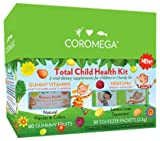 Coromega Total Child Health Kit, Gummy Fruits Multivitamin Multimineral 60-count Bottle And Child Brain & Body High DHA Omega-3 Fish Oil 30-packets,