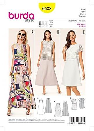 Burda 6628 Schnittmuster, für einfache Kleider, Damen: Amazon.de ...