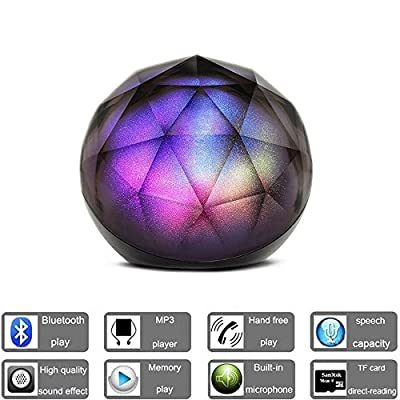 DRILLPRO LED Color Changing Bluetooth Speaker,Portable Wireless Speaker - LED Ball Speaker with Enhanced Bass, Cool LED Lights and Multifunctional Remote for iPhone 6S /6S Plus/6/6 Plus, TV, DJ, Car