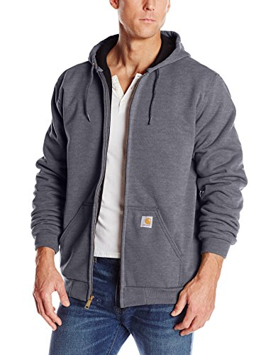 Carhartt Rutland Thermal-Lined Hooded Zip-Front Sweatshirt, Carbon Heather, X-Large Tall Carhartt Thermal