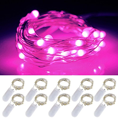 LXS Battery Operated Fairy Lights 10 Sets 2M /20 LED,Amazingly Bright - Ultra-Thin Flexible Easy to Wrap Silver Wire Valentines Day Wedding Party,Fairy Light Effect(10PCS-Pink)