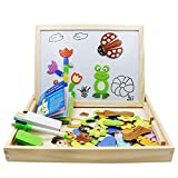 FLERISE Magnetic Puzzles Kids Wooden Games 109 Pieces Double Side Education Wooden Toys Animals Puzzle Games For Boy & Girls