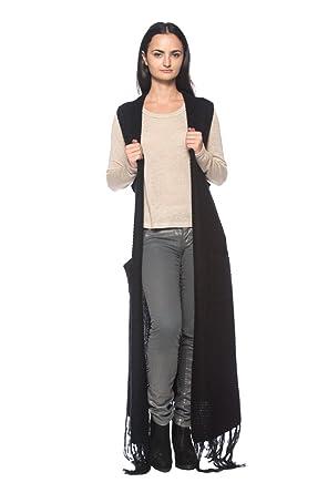 Women's Plus Black Long Maxi Duster Fringe Sweater Coat
