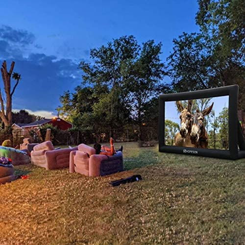 Jumbo Outdoor Inflatable Movie Screen for Projector,Portable 16 Feet Blow Up TV Projector Screen for Party Backyard,Support Front and Rear Projection,Package with Inflation Fan+Tie-Downs+Storage Bag