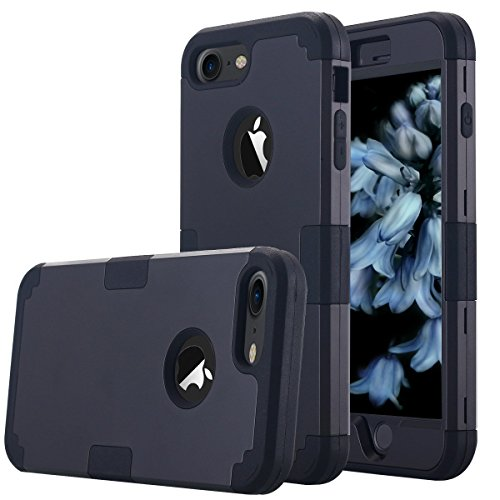 iPhone 7 Case, AOKER Shockproof Hybrid Heavy Duty High Impact Hard Plastic+Soft Silicon Rubber Armor Defender Case Cover for Apple iPhone 7 4.7 Inch (2016) (Black)