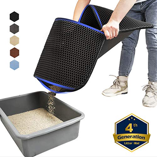 WePet Cat Litter Mat, Kitty Litter Trapping Mat, Large Size, Honeycomb Double Layer, No Phthalate, Urine Waterproof, Easy Clean, Scratch Scatter Control, Catcher Box Pads Rug Carpet 30x25 Inch Black