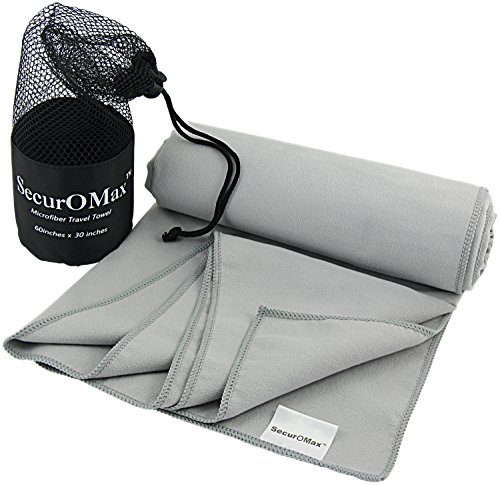Microfiber Travel Sports Towel (Large 30 x 60 Inch) with Portable Mesh Bag - Soft Absorbent Lightweight, Quick Dry & Drying - Best for Camping, Hiking, Beach, Bath, Yoga, Swimming Pool & Gym