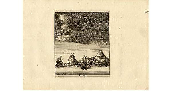 Antiguo ThePrintsCollector mapa-Ceuta-España-Marruecos-África-barco-Weege-1753: Amazon.es: Hogar