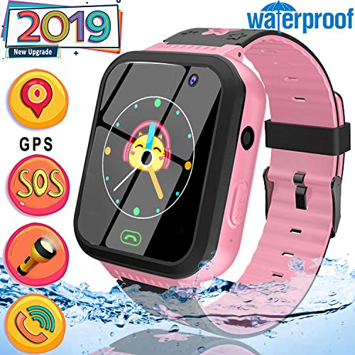 2019 Upgrade Kids Smart Watch Phone [Free SIM Card] GPS Tracker Watch-Waterproof 1.44