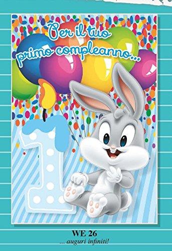 Biglietto Auguri 1 anno primo compleanno bambino celeste BUGS