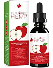 Flavored Hemp Oil - 1000 Mg - Fuji Apple - 100% Organic Hemp Extract Drops - Natural Pain Stress Anxiety Relief & Improves Overall Health - Grown & Made in The USA