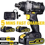 Impact Driver 18V, TECCPO Cordless Impact Driver 180Nm, 2 Batteries 2.0Ah, 30min Fast Charger 4.0A, 2900RPM Max Speed and 4000BPM, Variable Speed, 6.35mm Quick Chuck - TDID01P