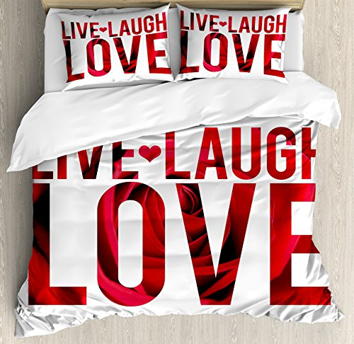 Live Laugh Love Decor Queen Size Duvet Cover Set by Ambesonne, Typographic Montage Words with Macro Rose Petals Texture Print, Decorative 3 Piece Bedding Set with 2 Pillow Shams, Red White Black by Ambesonne